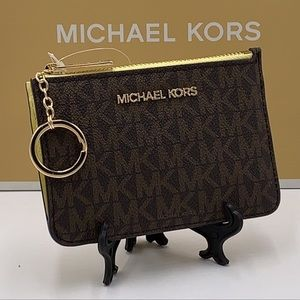 Michael Kors Jet Set Travel Small Leather Top Zip Coin Pouch